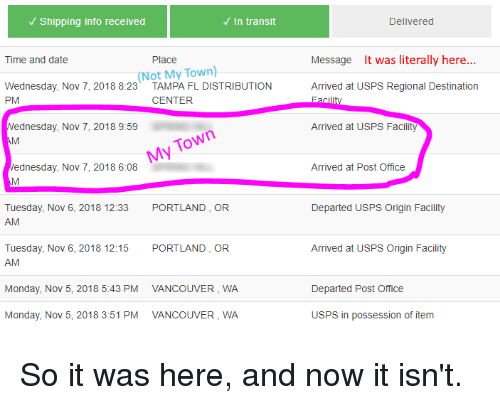 Shipping Info Received in Transit Delivered Time and Date Place
