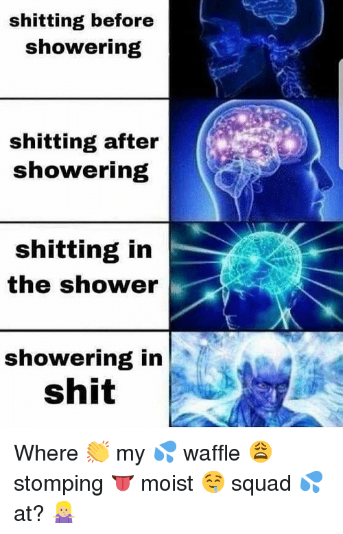 Dank, Shit, and Shower: shitting before  showering  shitting after  showering  shitting in  the shower  showering in  shit Where 👏 my 💦 waffle 😩 stomping 👅 moist 🤤 squad 💦 at? 🤷🏼‍♀️