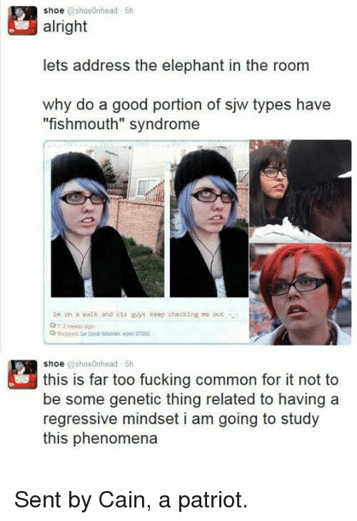 """Fucking, Memes, and Common: shoe @shoeOnhead 5h  alright  lets address the elephant in the room  why do a good portion of sjw types have  """"fishmouth"""" syndrome  Im on a valk and cLs gos keep checking """"e ar  shoe @shoe nhead 5h  this is far too fucking common for it not to  be some genetic thing related to having a  regressive mindset i am going to study  this phenomena Sent by Cain, a patriot."""