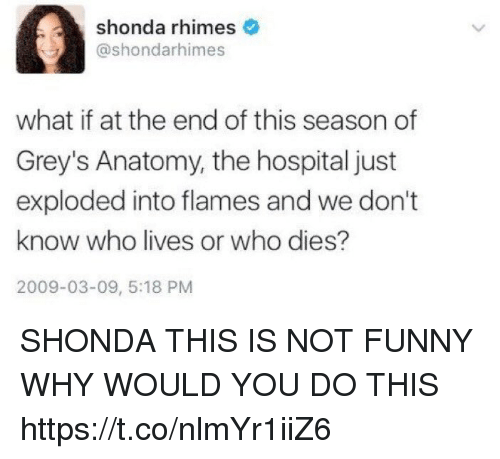 Funny, Memes, and 2009: shonda rhimes  @shondarhimes  what if at the end of this season of  Grey's Anatomy, the hospital just  exploded into flames and we don't  know who lives or who dies?  2009-03-09, 5:18 PM SHONDA THIS IS NOT FUNNY WHY WOULD YOU DO THIS https://t.co/nlmYr1iiZ6
