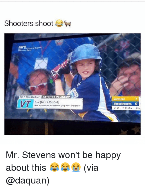 Crush, Daquan, and Memes: Shooters shoot  ESF  LWS Nw Ergland Regional  Game  SS 5 Ben Deibler BATS 1ST IN LINEUP  7  Massachusetts 0  ermont  1-2 (RBI Double)  Has a crush on his teacher (Sup Mrs. Stevens?)  2-2 2 Outs Pitc Mr. Stevens won't be happy about this 😂😂😭 (via @daquan)