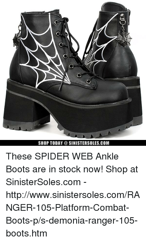 SHOP TODAY a SINISTERSOLESCOM These SPIDER WEB Ankle Boots ...