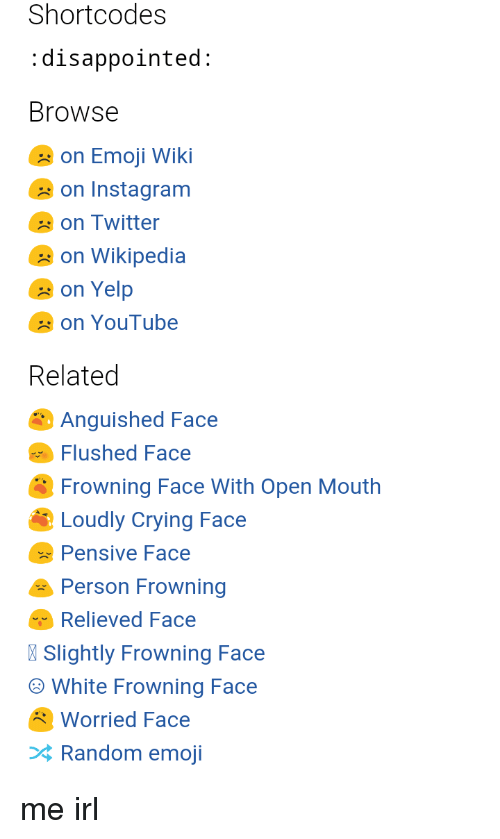 Short Codes Disappointed Browse on Emoji Wiki on Instagram on