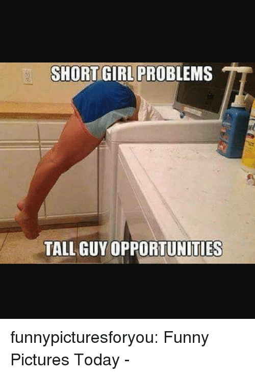 Funny, Tumblr, and Blog: SHORT GIRL PROBLEMS  TALL GUY OPPORTUNITIES funnypicturesforyou:  Funny Pictures Today -