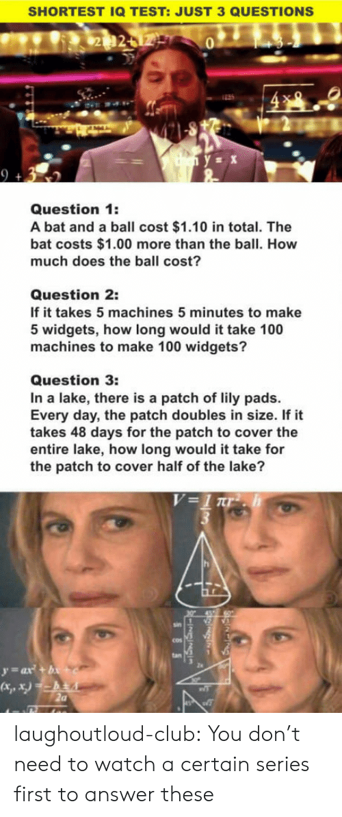 Anaconda, Club, and Tumblr: SHORTEST IQ TEST: JUST 3 QUESTIONS  0  2  Question 1:  A bat and a ball cost $1.10 in total. The  bat costs $1.00 more than the ball. How  much does the ball cost?  Question 2:  If it takes 5 machines 5 minutes to make  5 widgets, how long would it take 100  machines to make 100 widgets?  Question 3:  In a lake, there is a patch of lily pads.  Every day, the patch doubles in size. If it  takes 48 days for the patch to cover the  entire lake, how long would it take for  the patch to cover half of the lake?  cos  2a laughoutloud-club:  You don't need to watch a certain series first to answer these
