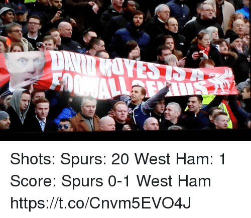 Memes, Spurs, and 🤖: Shots:   Spurs: 20 West Ham: 1  Score:  Spurs 0-1 West Ham https://t.co/Cnvm5EVO4J