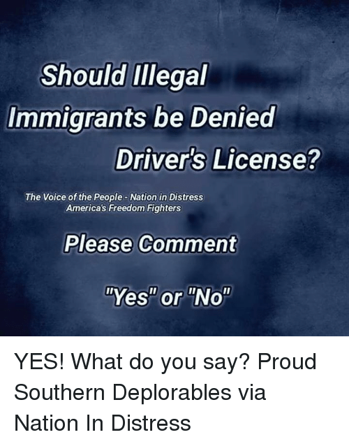 """Memes, The Voice, and Voice: Should Illegal  Immigrants be Denied  Driver's License?  The Voice of the People-Nation in Distress  America's Freedom Fighters  Please Comment  """"Yes"""" or """"No"""" YES! What do you say? Proud Southern Deplorables via Nation In Distress"""