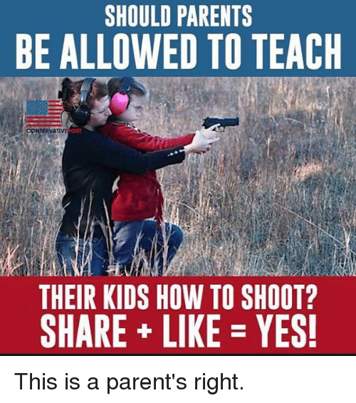 Memes, Parents, and How To: SHOULD PARENTS  BE ALLOWED TO TEACKH  THEIR KIDS HOW TO SHOOT?  SHARE LIKE YES! This is a parent's right.