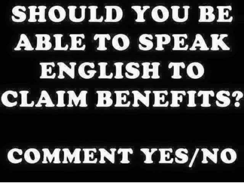 Memes, English, and 🤖: SHOULD YOU BE  ABLE TO SPEAK  ENGLISH TO  CLAIM BENEFITS?  COMMENT YES/NO