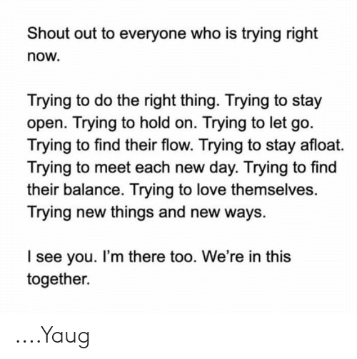 Love, Memes, and Do the Right Thing: Shout out to everyone who is trying right  now.  Trying to do the right thing. Trying to stay  open. Trying to hold on. Trying to let go.  Trying to find their flow. Trying to stay afloat.  Trying to meet each new day. Trying to find  their balance. Trying to love themselves.  Trying new things and new ways.  I see you. I'm there too. We're in this  together ....Yaug