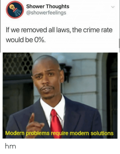 Crime, Shower, and Shower Thoughts: Shower Thoughts  @showerfeelings  If we removed all laws, the crime rate  would be 0%  cabbygator  Modern problems require modern solutions hm