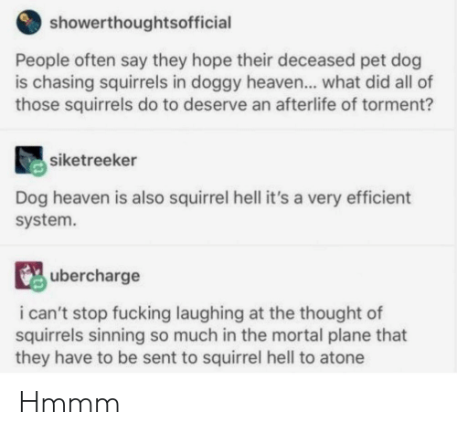 Fucking, Heaven, and Squirrel: showerthoughtsofficial  People often say they hope their deceased pet dog  is chasing squirrels in doggy heaven... what did all of  those squirrels do to deserve an afterlife of torment?  siketreeker  Dog heaven is also squirrel hell it's a very efficient  system.  ubercharge  i can't stop fucking laughing at the thought of  squirrels sinning so much in the mortal plane that  they have to be sent to squirrel hell to atone Hmmm
