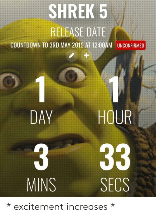 SHREK 5 RELEASE DATE COUNTDOWN TO 3RD MAY 2019 AT 1200AM UNCONFIRMED