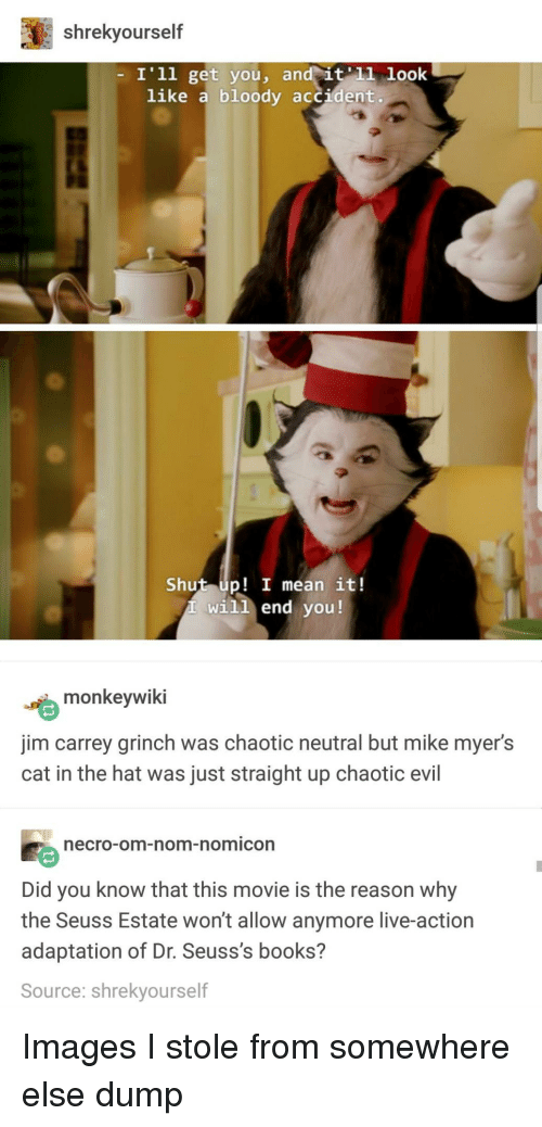 Books, The Grinch, and Jim Carrey: shrekyourself  I'1l get you, an  like a bloody accident.  Shut up! I mean it!  will end you!  嚙monkeywiki  jim carrey grinch was chaotic neutral but mike myer's  cat in the hat was just straight up chaotic evil  ecro-om-nom-nomicon  Did you know that this movie is the reason why  the Seuss Estate won't allow anymore live-action  adaptation of Dr. Seuss's books?  Source: shrekyourself Images I stole from somewhere else dump