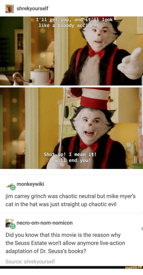 Books, The Grinch, and Jim Carrey: shrekyourself  I'1l get you, and  it 11 look  like a bloody accident.  Shut up! I mean it!  will end you!  monkeywiki  jim carrey grinch was chaotic neutral but mike myer's  cat in the hat was just straight up chaotic evil  ecro-om-nom-nomicon  Did you know that this movie is the reason why  the Seuss Estate won't allow anymore live-action  adaptation of Dr. Seuss's books?  Source: shrekyourself  ifunny.ce