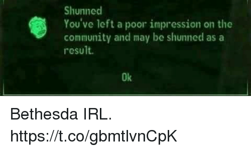 Community, Irl, and Bethesda: Shunned  You've left a poor impression on the  community and may be shunned asa  result.  Ok Bethesda IRL. https://t.co/gbmtlvnCpK