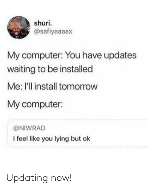 Computer, Tomorrow, and Lying: shuri  @safiyaaaax  My computer: You have updates  waiting to be installed  Me: I'll install tomorrow  My computer:  @NIWRAD  I feel like you lying but ok Updating now!