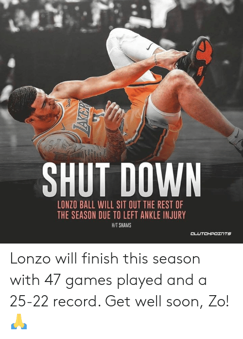 Soon..., Games, and Record: SHUT DOWN  LONZO BALL WILL SIT OUT THE REST OF  THE SEASON DUE TO LEFT ANKLE INJURY  HIT SHAMS  OL Lonzo will finish this season with 47 games played and a 25-22 record. Get well soon, Zo! 🙏