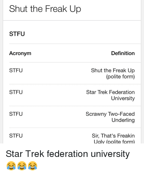 What is stfu mean in text