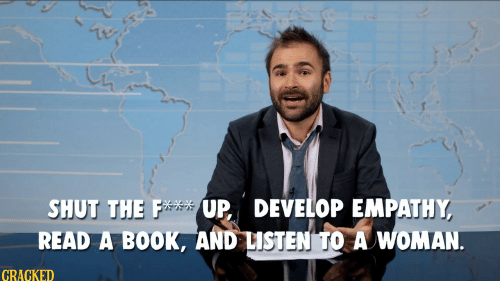 Book, Empathy, and Read: SHUT THEUP DEVELOP EMPATHY  READ A BOOK. AND USTENAWOMA  GRACKED