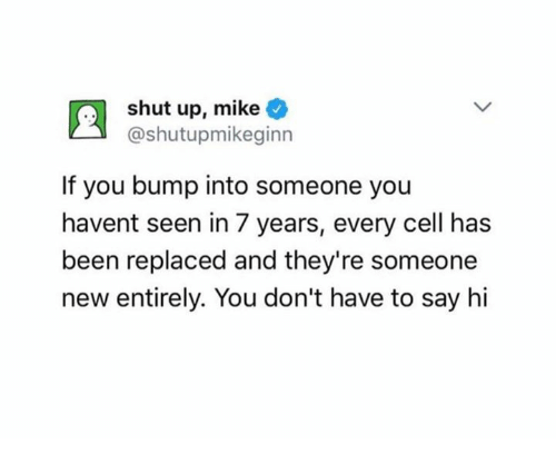 Shut Up, Been, and Cell: shut up, mike  @shutupmikeginn  If you bump into someone you  havent seen in 7 years, every cell has  been replaced and they're someone  new entirely. You don't have to say hi