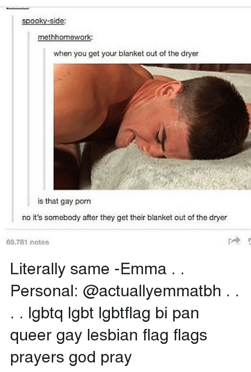 On a blanket in the gay