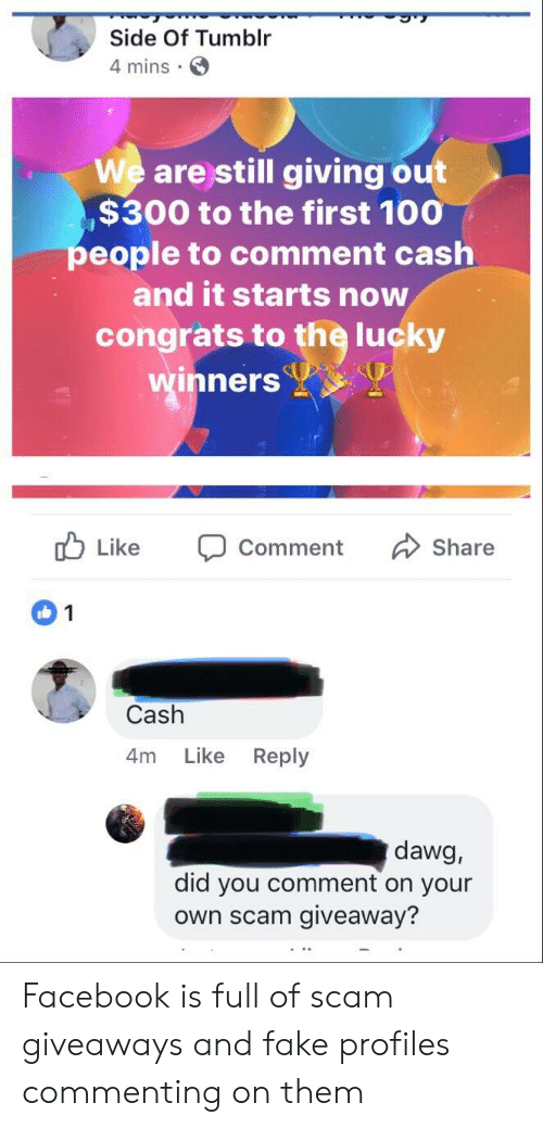 Anaconda, Facebook, and Fake: Side Of Tumblr  4 mins.  We are still giving out  $300 to the first 100  eople to comment cash  and it starts now  congrats to the lucky  inners  b Like Comment Share  Cash  4m Like Reply  dawg,  did you comment on your  own scam giveaway? Facebook is full of scam giveaways and fake profiles commenting on them