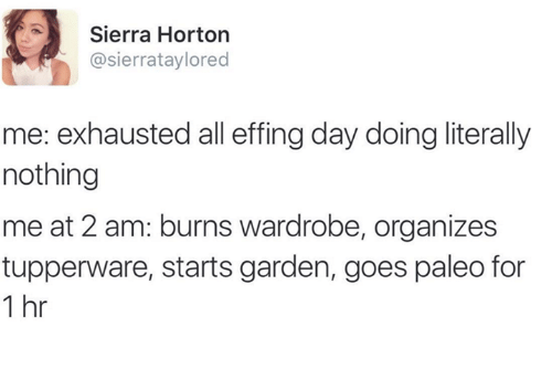 Dank, 🤖, and Paleo: Sierra Horton  sierrataylored  me: exhausted all effingday doing literally  nothing  me at 2 am: burns wardrobe, organizes  tupperware, starts garden, goes paleo for  1 hr