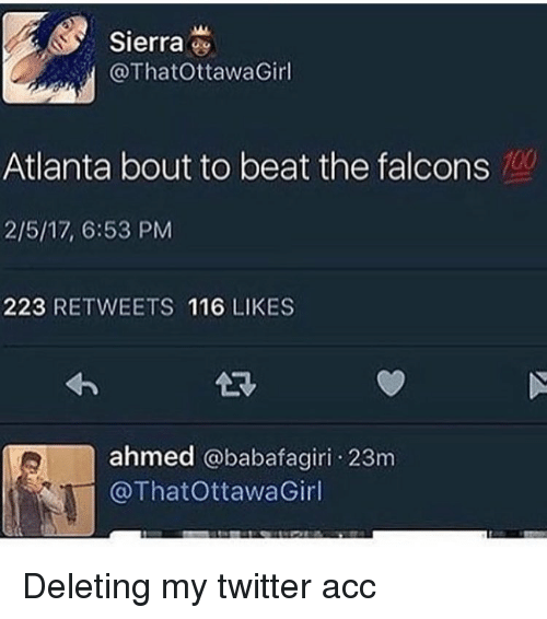 Memes, 🤖, and Sierra: Sierra  ThatOttawa Girl  Atlanta bout to beat the falcons  2/5/17, 6:53 PM  223 RETWEETS 116 LIKES  ahmed  babafagiri. 23m  @ThatottawaGirl Deleting my twitter acc