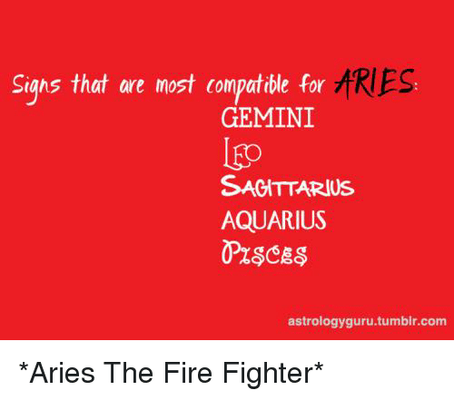 Sighs That Are Most Compatible for ARIES GEMINI Lgo