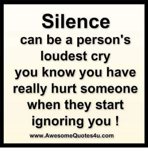 Silence Can Be a Person's Loudest Cry You Know You Have