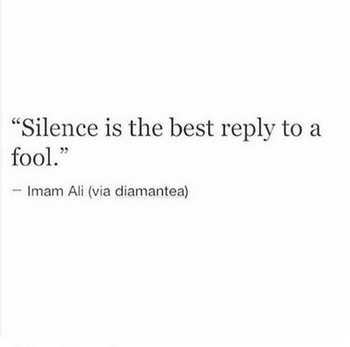 "Ali, Best, and Silence: ""Silence is the best reply to a  fool.""  -Imam Ali (via diamantea)"