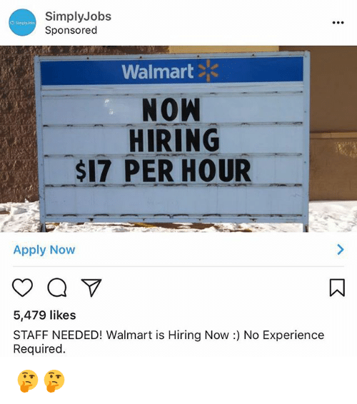simply jobs sponsored walmart now hiring 17 per hour apply now 5479 likes staff needed walmart. Black Bedroom Furniture Sets. Home Design Ideas