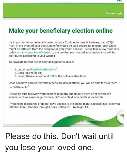 Sinai Secure Login Make Your Beneficiary Election Online