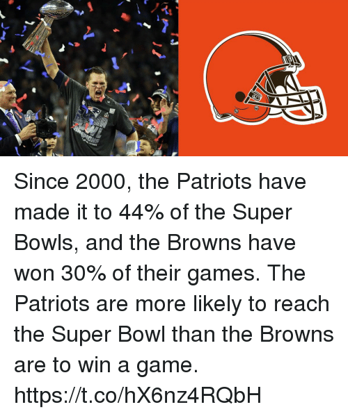 Patriotic, Super Bowl, and Browns: Since 2000, the Patriots have made it to 44% of the Super Bowls, and the Browns have won 30% of their games. The Patriots are more likely to reach the Super Bowl than the Browns are to win a game. https://t.co/hX6nz4RQbH