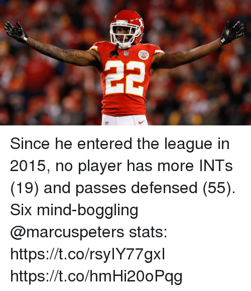 Memes, The League, and Mind: Since he entered the league in 2015, no player has more INTs (19) and passes defensed (55).  Six mind-boggling @marcuspeters stats: https://t.co/rsyIY77gxI https://t.co/hmHi20oPqg