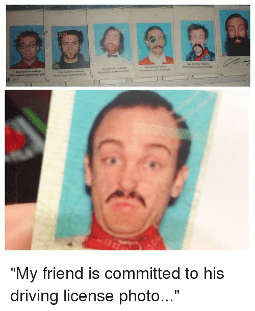 """Dank, 🤖, and Photos: sine back for medical """"My friend is committed to his driving license photo..."""""""