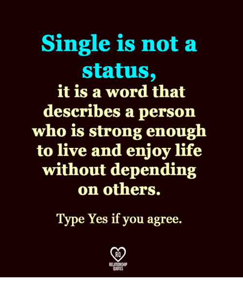 Single Is Not A Status It Is A Word That Describes A Person Who Is