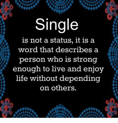 Memes, Strong, and Singles: Single  is not a status, it is a  word that describes a  person who is strong  enough to live and enjoy  life without depending  on others.