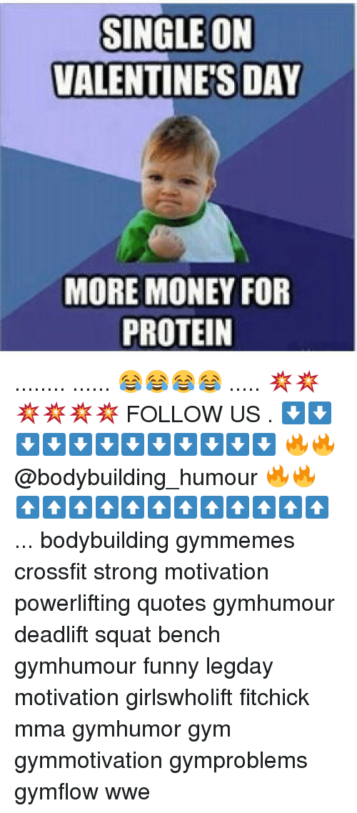 Memes, Bodybuilding, and 🤖: SINGLE ON  VALENTINE'S DAY  MORE MONEY FOR  PROTEIN ........ ...... 😂😂😂😂 ..... 💥💥💥💥💥💥 FOLLOW US . ⬇️⬇️⬇️⬇️⬇️⬇️⬇️⬇️⬇️⬇️⬇️⬇️ 🔥🔥@bodybuilding_humour 🔥🔥 ⬆️⬆️⬆️⬆️⬆️⬆️⬆️⬆️⬆️⬆️⬆️⬆️ ... bodybuilding gymmemes crossfit strong motivation powerlifting quotes gymhumour deadlift squat bench gymhumour funny legday motivation girlswholift fitchick mma gymhumor gym gymmotivation gymproblems gymflow wwe