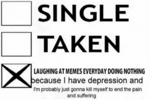 Memes, Taken, and Depression: SINGLE  TAKEN  LAUGHING AT MEMES EVERYDAY DOING NOTHING  ecause I have depression and  I'm probably just gonna kill myself to end the pain  and suffering
