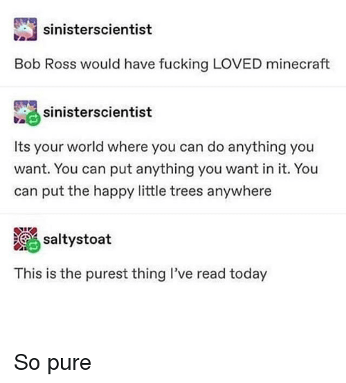 Fucking, Minecraft, and Bob Ross: sinisterscientist  Bob Ross would have fucking LOVED minecraft  sinierscientist  Its your world where you can do anything you  want. You can put anything you want in it. You  can put the happy little trees anywhere  altystoat  This is the purest thing I've read today So pure