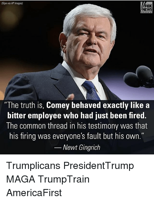 "Memes, News, and Common: (Sipa via APImages)  FOX  NEWS  ""The truth is, Comey behaved exactly like a  bitter employee who had just been fired.  The common thread in his testimony was that  his firing was everyone's fault but his own.""  Newt Gingrich Trumplicans PresidentTrump MAGA TrumpTrain AmericaFirst"