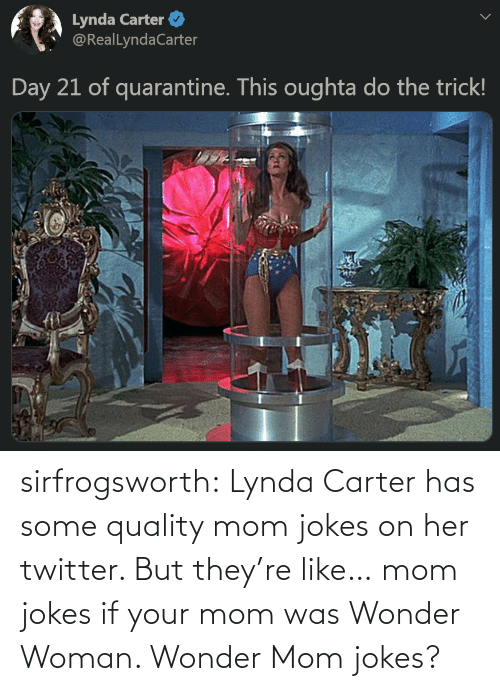 Tumblr, Twitter, and Blog: sirfrogsworth:  Lynda Carter has some quality mom jokes on her twitter. But they're like… mom jokes if your mom was Wonder Woman. Wonder Mom jokes?