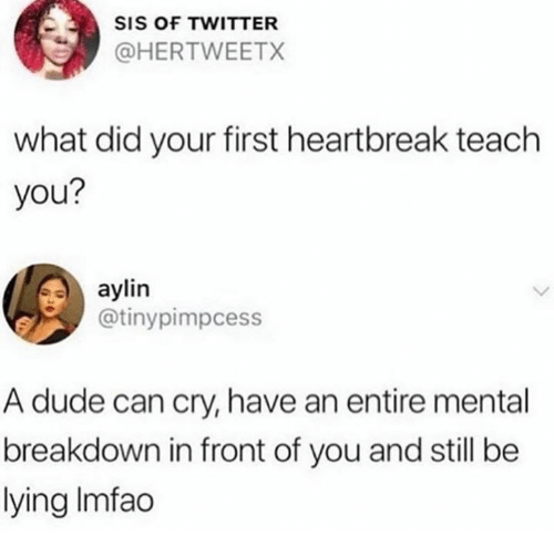 Dude, Twitter, and Lying: SIS OF TWITTER  @HERTWEETX  what did your first heartbreak teach  you?  aylin  @tinypimpcess  A dude can cry, have an entire mental  breakdown in front of you and still be  lying Imfao