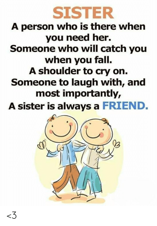 SISTER a Person Who Is There When You Need Her Someone Who