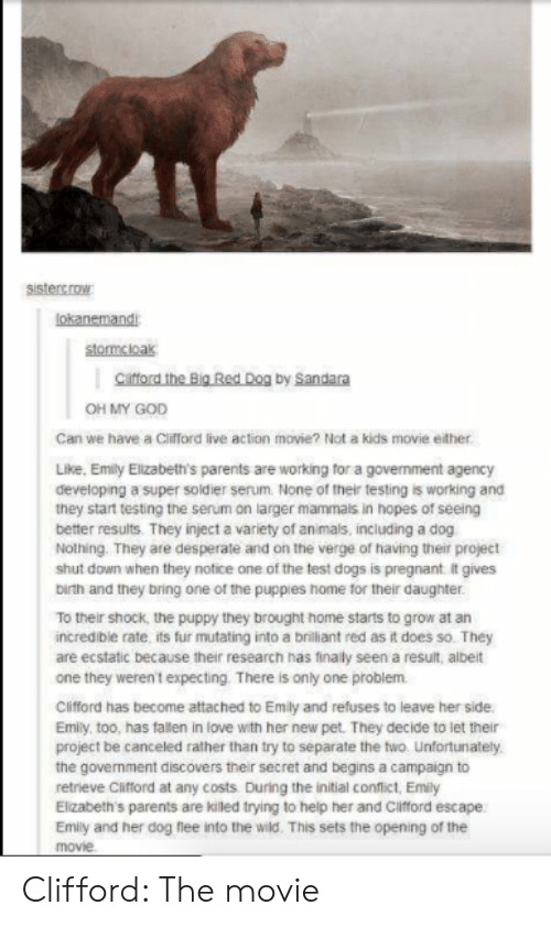 Desperate, Dogs, and God: sistercrow  lokanemandi  stormcloak  cafford the Big Red Dog by Sandara  OH MY GOD  Can we have a Cifford live action movie? Not a kids movie either.  Like, Emity Elizabeth's parents are working for a government agency  developing a super soldier serum. None of their testing is working and  they start testing the serum on larger mammais in hopes of seeing  better results. They inject a variety of an mals, including a dog  Nothing. They are desperate and on the verge of having their project  shut down when they notice one of the test dogs is pregnant. it gives  birth and they bring one of the puppies home tor their daughter.  To their shock, the puppy they brought home starts to grow at an  incredible rate its fur mutating into a brilliant red as it does so. They  are ecstatic because their research has finally seen a result, albeit  one they weren't expecting. There is only one problem  Clifford has become attached to Emily and refuses to leave her side  Emily, too, has fallen in love with her new pet. They decide to let their  project be canceled rather than try to separate the two. Unfortunately  the government discovers their secret and begins a campaign to  retrieve Clifford at any costs During the initial confict, Emily  Elizabeth's parents are killed trying to help her and Cifford escape  Emily and her dog flee into the wild. This sets the opening of the  movie Clifford: The movie