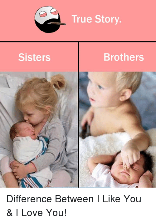 Sisters True Story Brothers Difference Between I Like You I Love