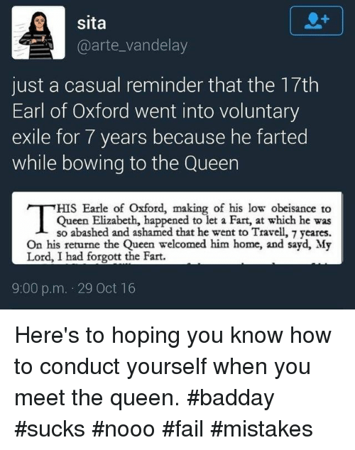 Sita Just a Casual Reminder That the 17th Earl of Oxford