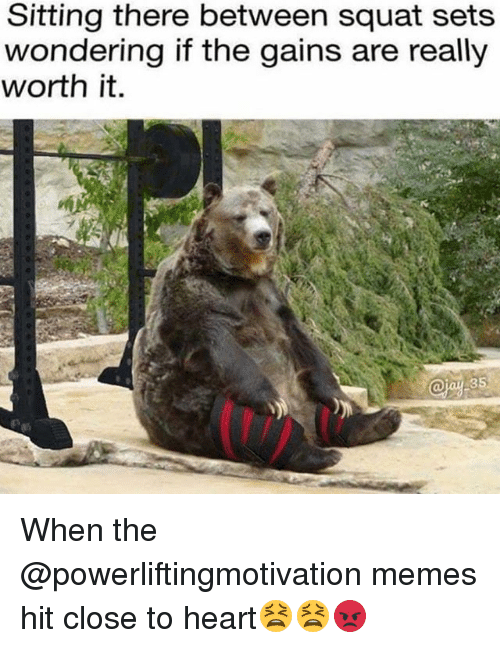 Memes, Heart, and Squat: Sitting there between squat sets  wondering if the gains are really  worth it. When the @powerliftingmotivation memes hit close to heart😫😫😡